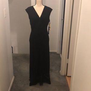 Long black chiffon dress.